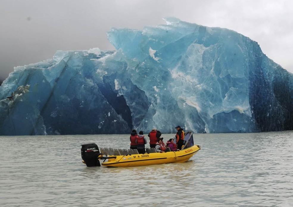 Vários icebergs se formaram no lago Tasman como resultado do terremoto ao sul da Nova Zelândia, em imagem de arquivo (Foto: Denis Callesen/NZPA/AP)