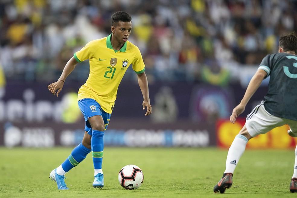 Rodrygo estreou pela seleção brasileira em amistoso contra a Argentina — Foto: Lucas Figueiredo / CBF