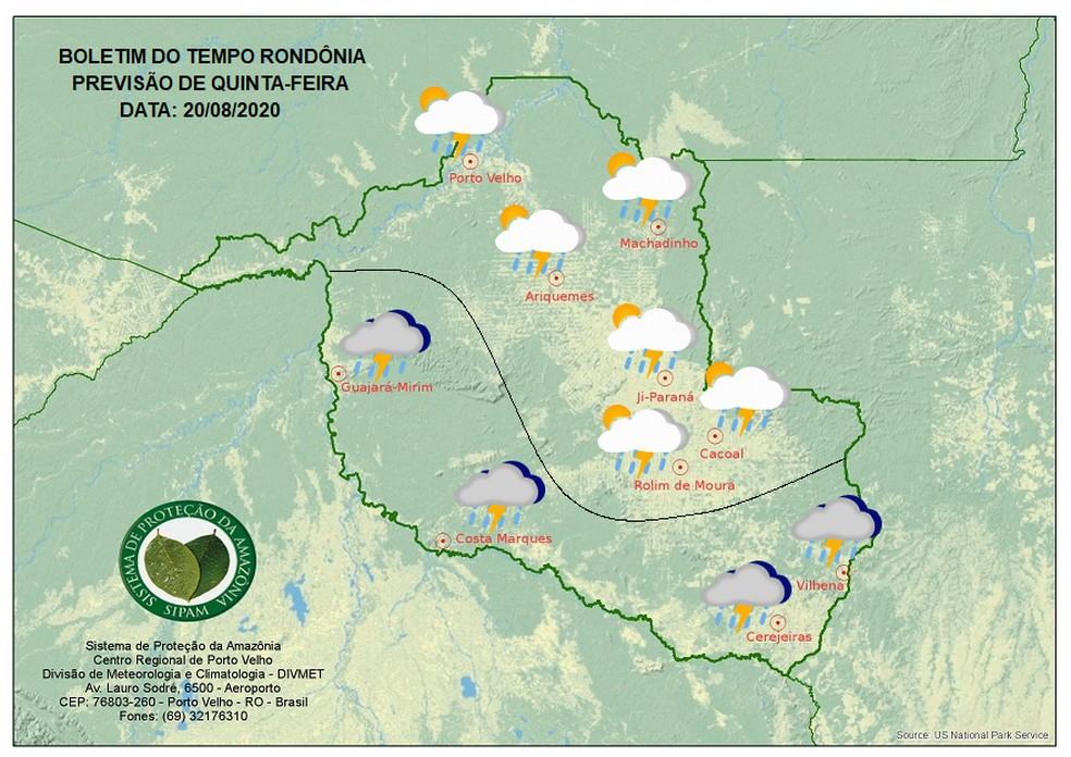 Previsão do tempo para a quinta-feira (20) em Rondônia — Foto: Sipam/Divulgação