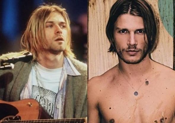 O cantor Kurt Cobain e Rodrigo Hilbert (Foto: Reprodução)