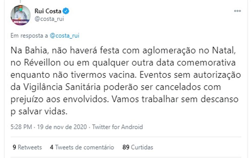 Governador da BA afirma que não haverá festa com aglomeração no natal e ano novo sem vacina para Covid-19 — Foto: Reprodução / Rede Sociais