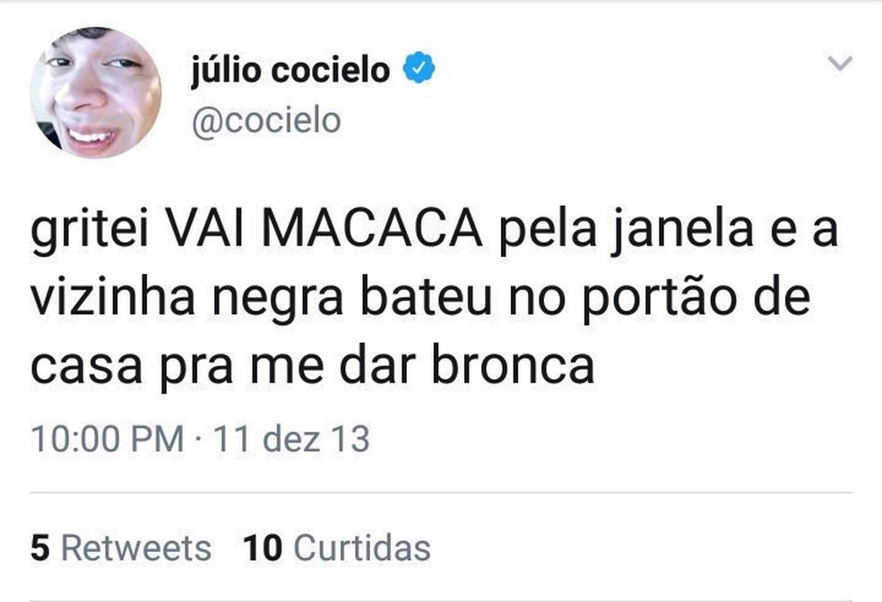 Comentário antigo de Júlio Cocielo também foi criticado (Foto: Reprodução/Twitter)