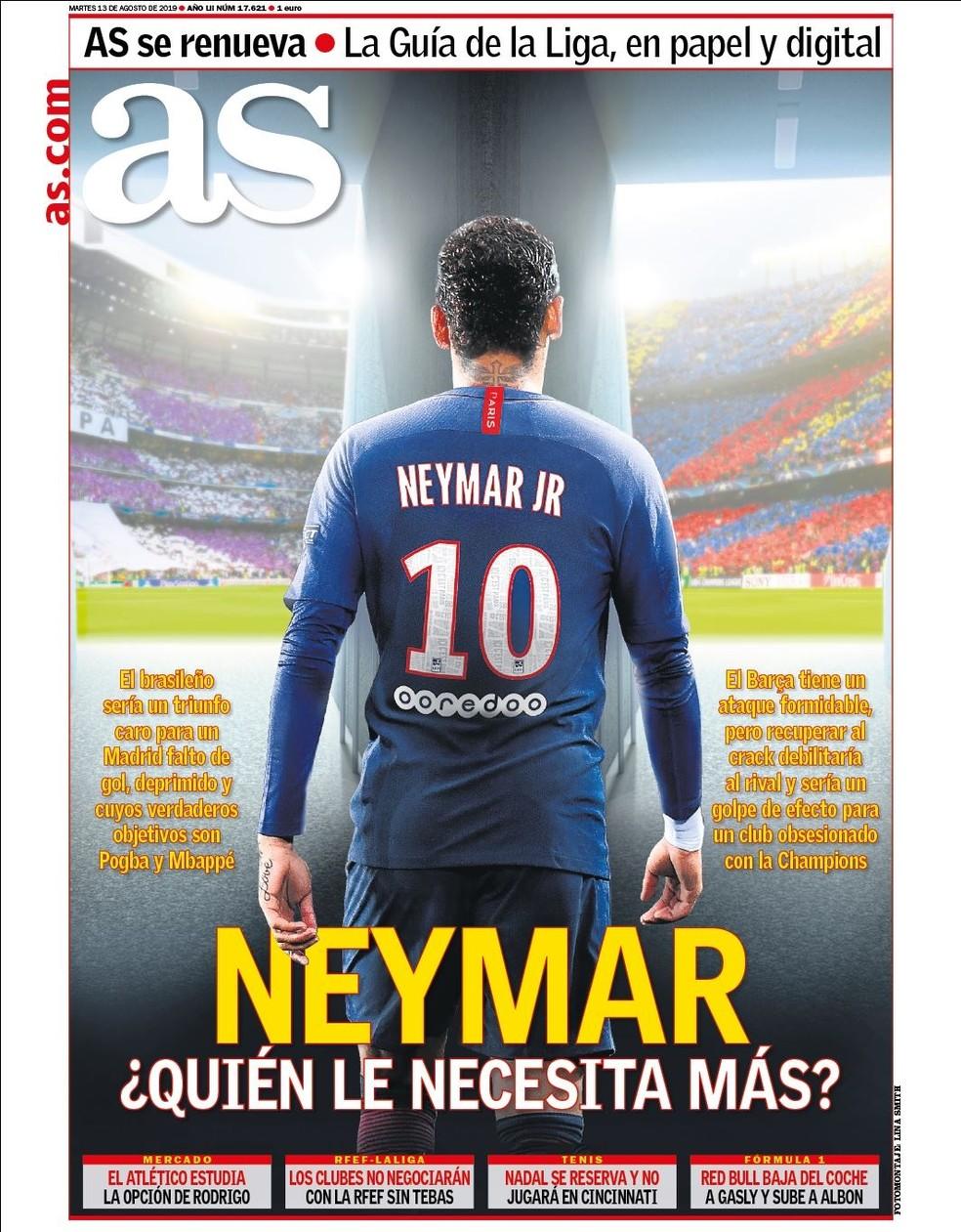 """""""Neymar: quem precisa mais?"""", questiona o """"As"""", que analisa carências do Real e do Barcelona — Foto: Reprodução/As"""