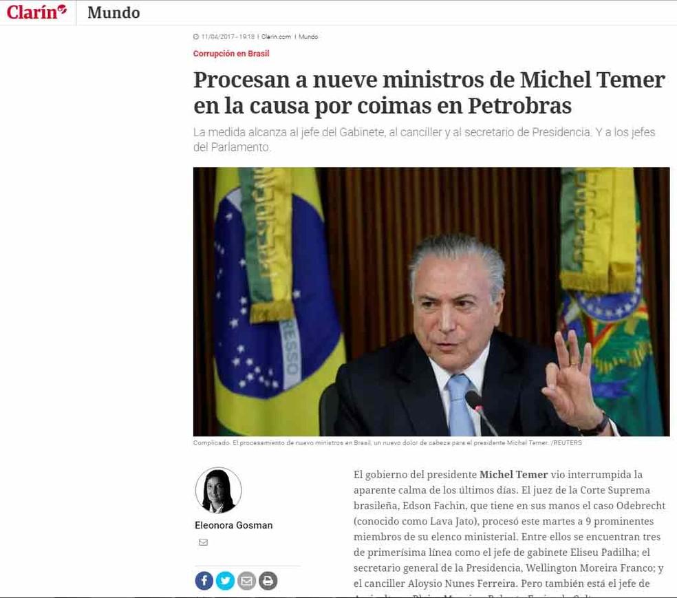 Jornal argentino 'El Clarín' repercute lista de Fachin (Foto: Reprodução/ El Clarín.com)
