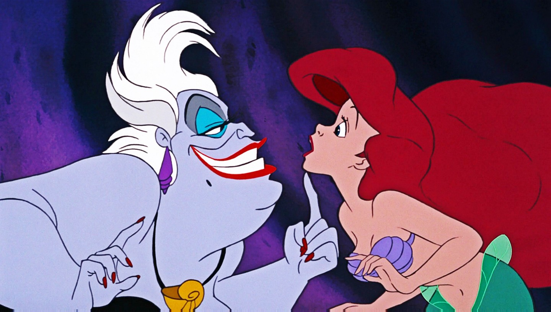 A vilã Ursula e a princesa Ariel em cena de A Pequena Sereia (1989) (Foto: Reprodução)