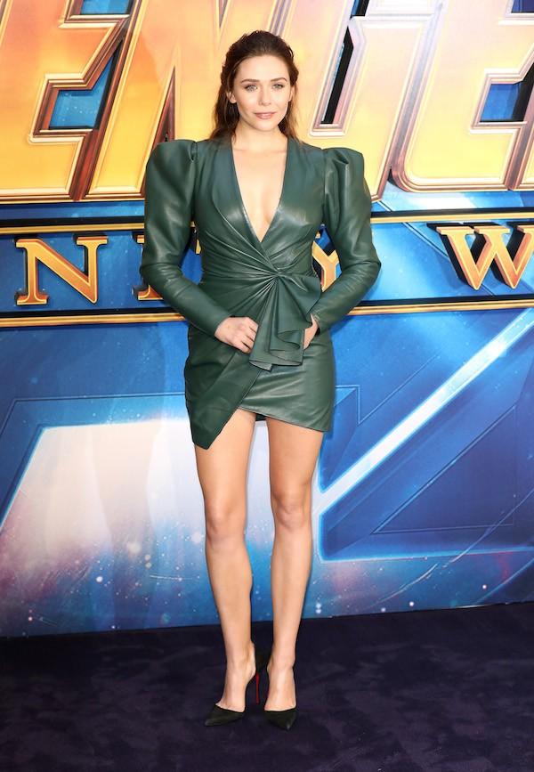 A atriz Elizabeth Olsen no evento de lançamento Vingadores: Guerra Inifinita em Londres (Foto: Getty Images)