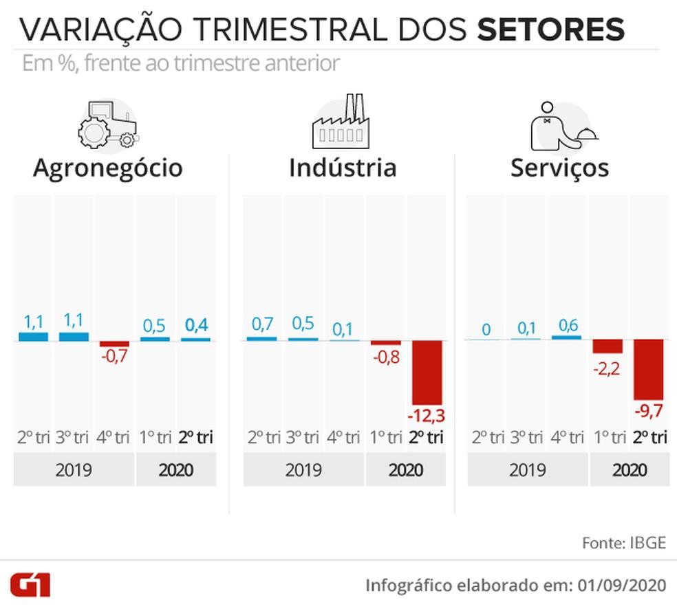 Variação do PIB por setores — Foto: Juliane Souza/G1