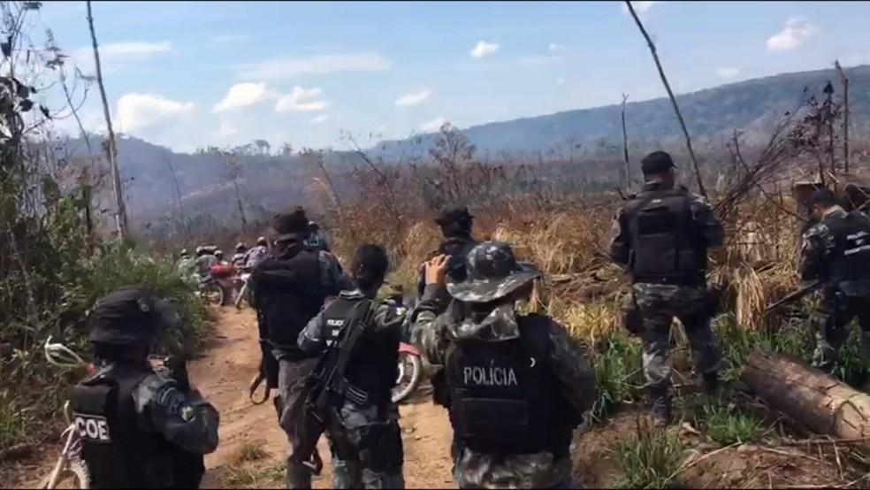 Momento da troca de tiros em Rondônia (Foto: Reprodução/Rede Amazônica)