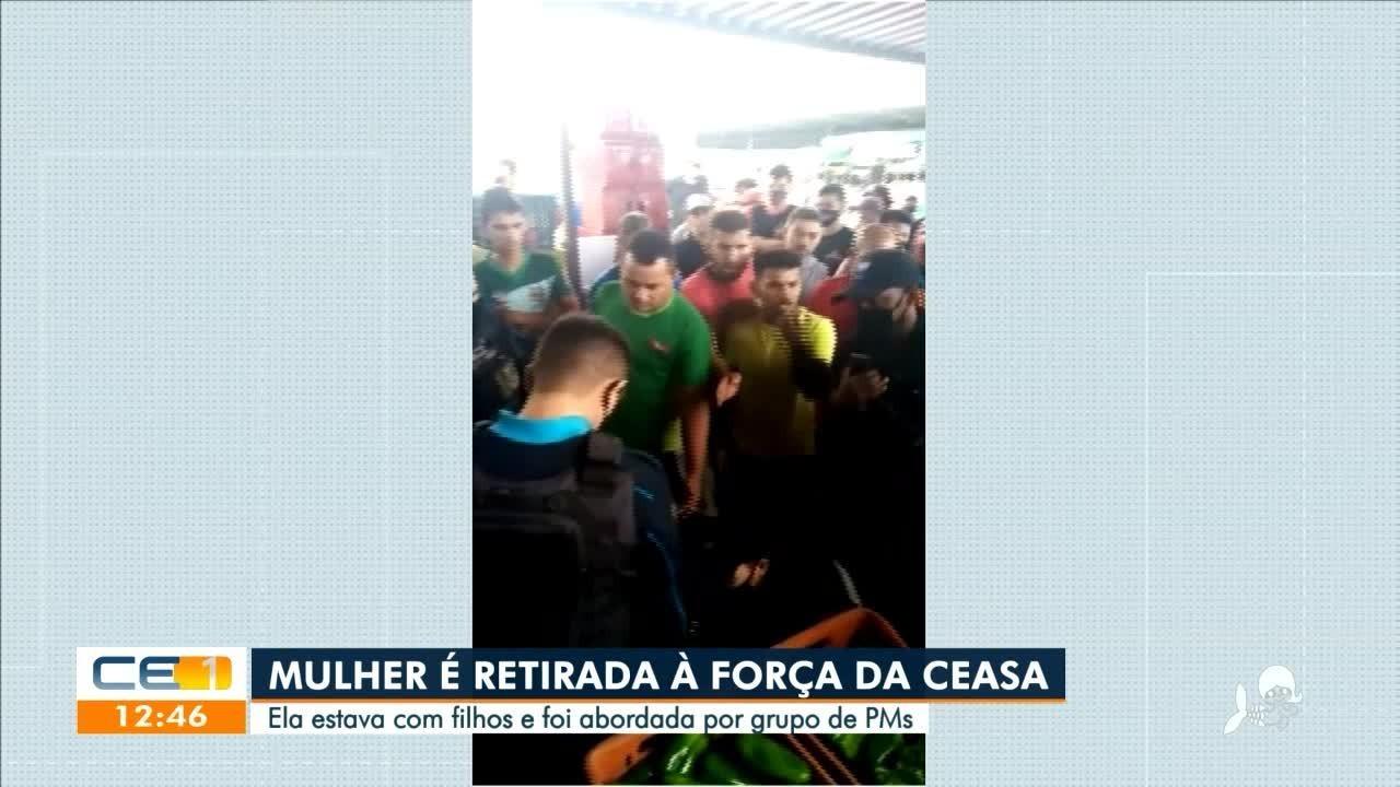 Mulher é tirada à força na Ceasa, em Maracanaú, por entrar com crianças