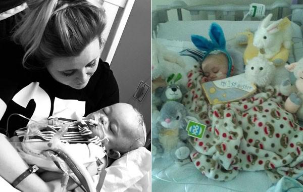No colo da mãe, depois de um mês desacordado, e na sua primeira Páscoa (Foto: Reprodução)