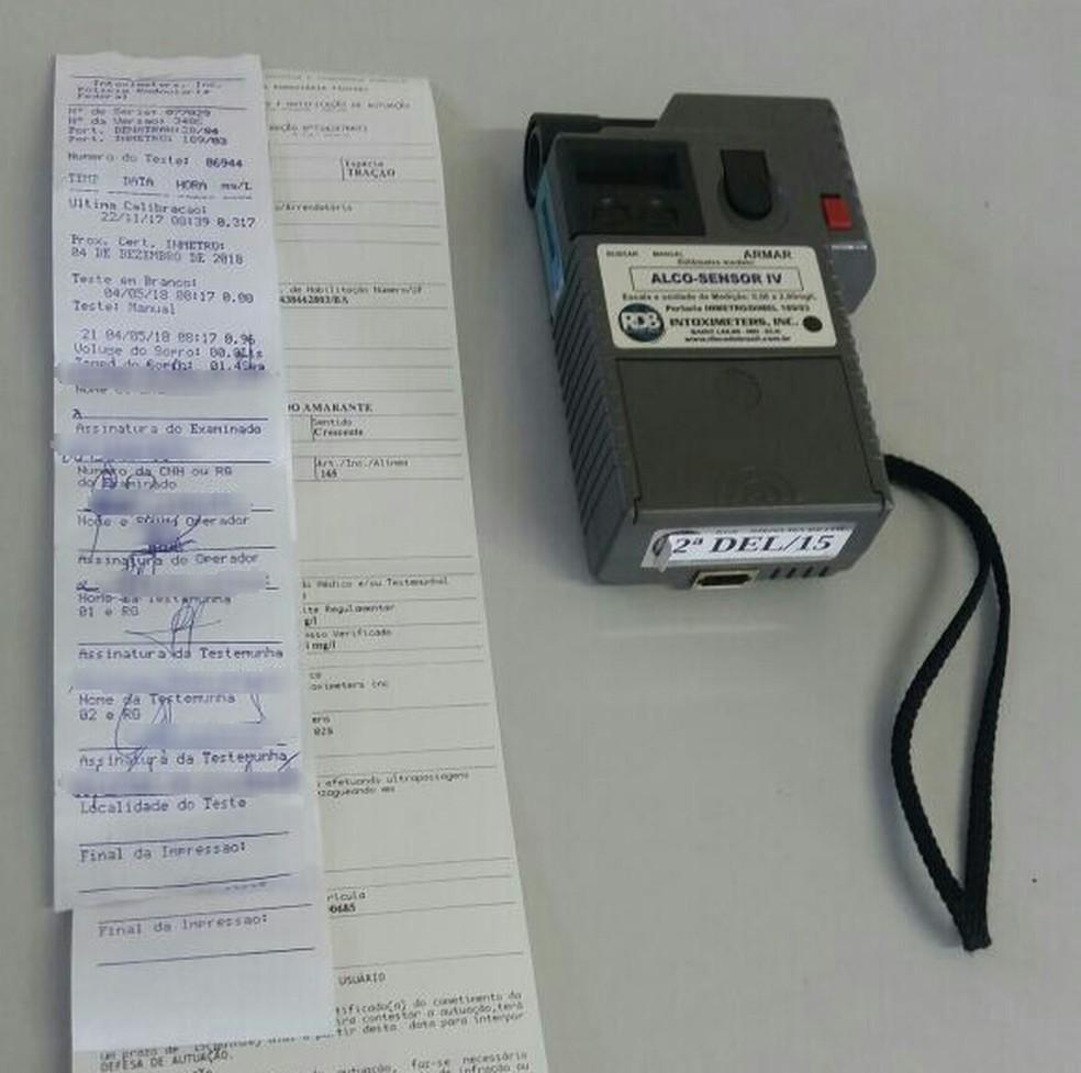 Teste do bafômetro no RN constatou teor alcoólico de 0,96 mg/l - mais de três vezes acima do que é considerado crime (Foto: PRF/Divulgação)