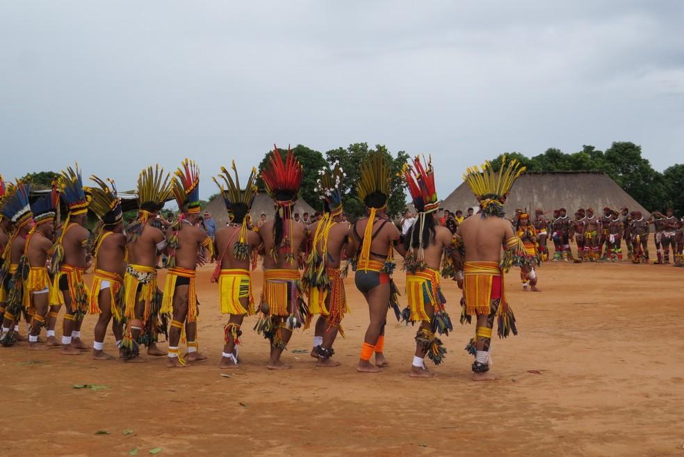 Indígenas no Parque do Xingu, em Mato Grosso � Foto: Lígia Vendramin/Sema-MT