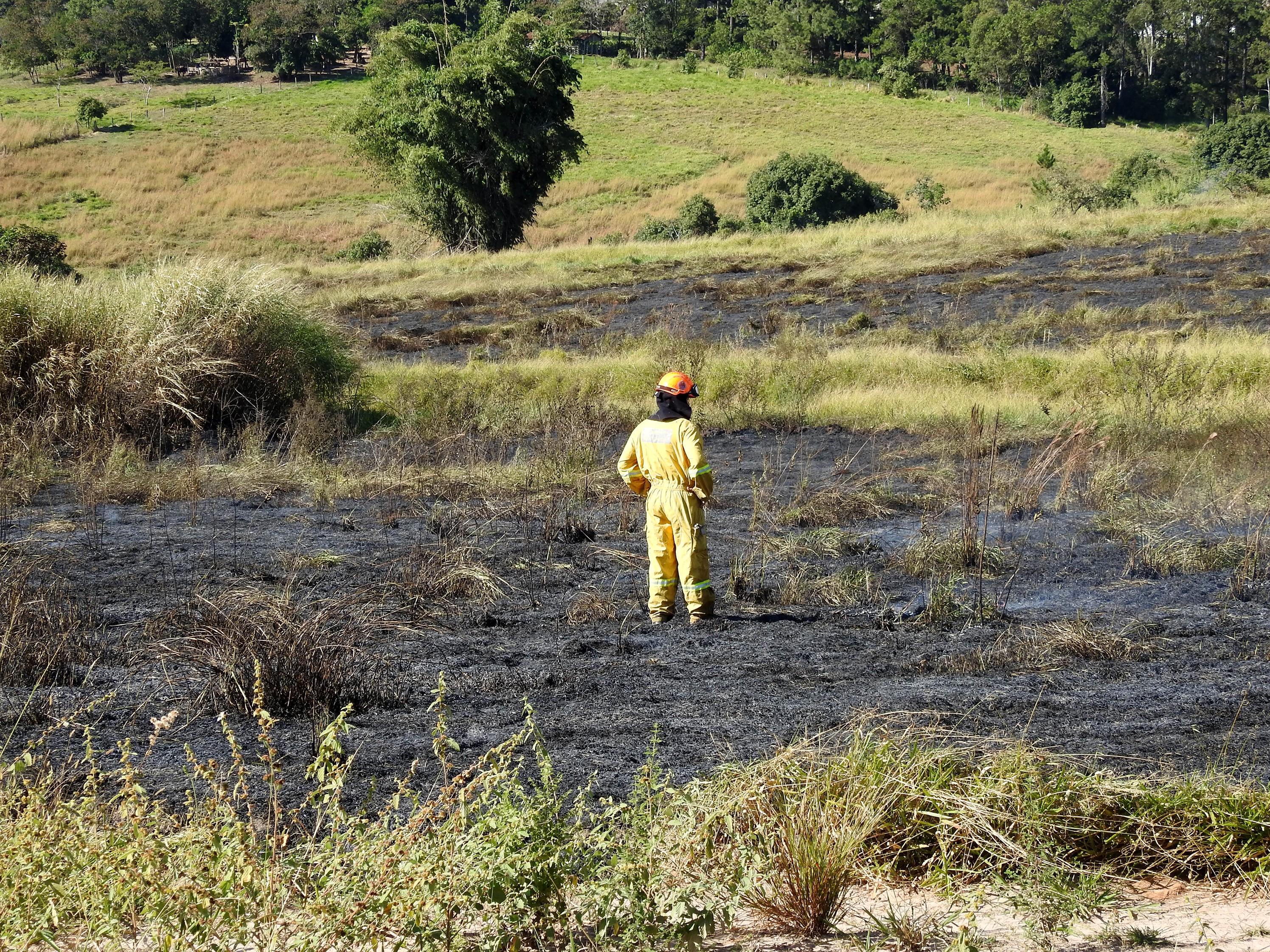 Incêndio em matagal mobiliza os bombeiros em Marília