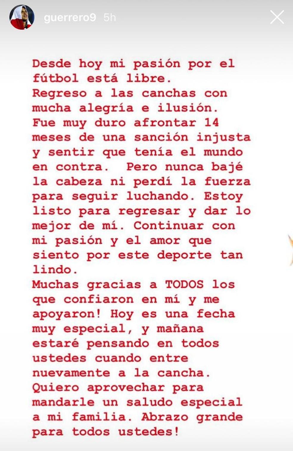 Guerrero comemora volta em texto no Instagram — Foto: Reprodução / Instagram