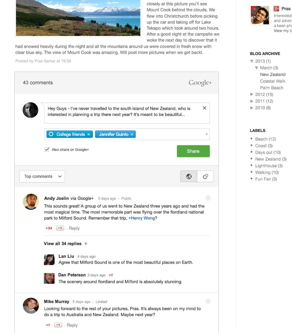 Comentários no Blogger integrado com o Google+ — Foto: Divulgação/ Google