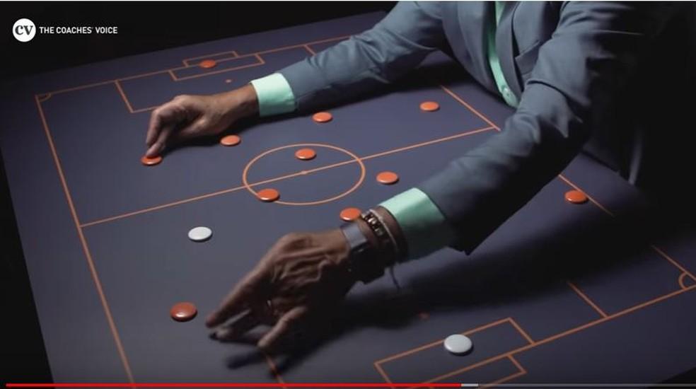 """Com a mão direita, Tite mostra a posição de Daniel Alves. Na esquerda, o arranque de GAbriel Jesus para receber o lançamento na final da Copa América 2019 — Foto: Reprodução """"The Coach Voices"""""""