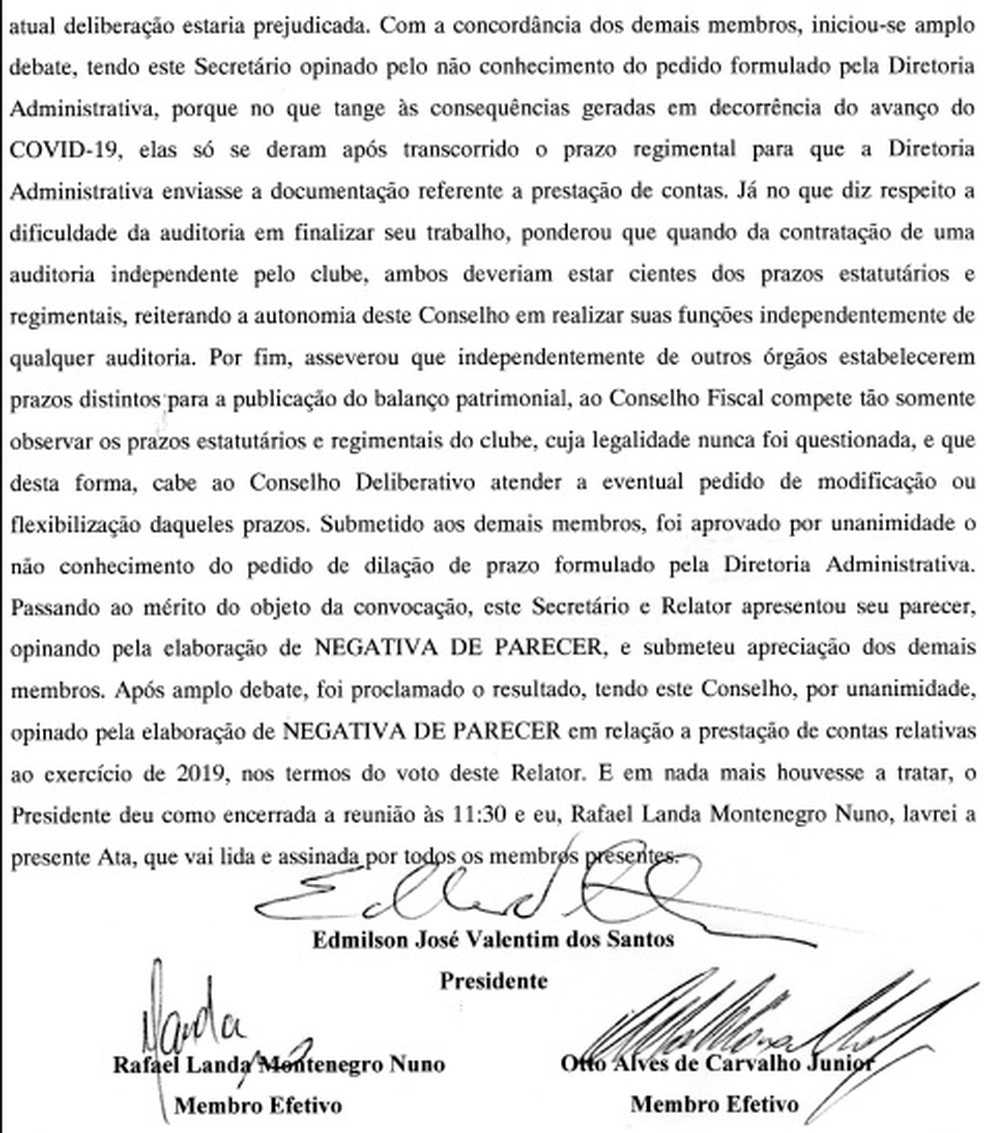 Trecho da ata da reunião do Conselho Fiscal — Foto: Reprodução