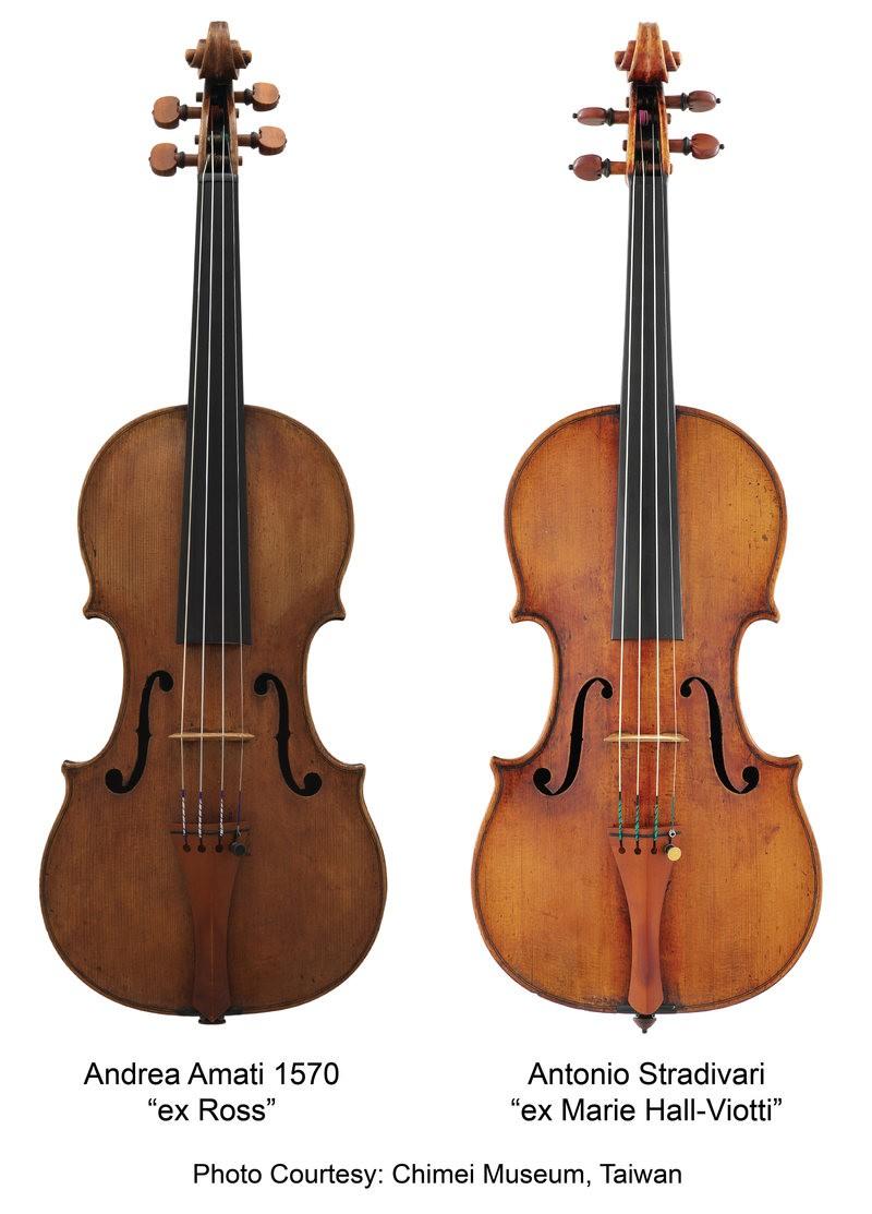 Violinos Amati e Stradivari usados no estudo. (Foto: COURTESY BRUCE TAI)