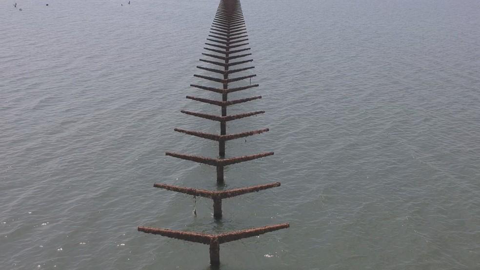 Colunas de concreto usadas para apoiar o telhado da estação ferroviária de Rubineia — Foto: Reprodução/Tv Tem
