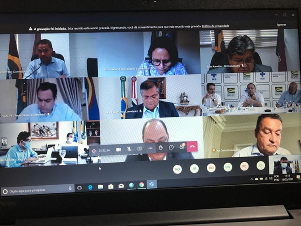 Em reunião, governadores do Nordeste comunicam sobre compra de 37 milhões da Sputnik V  — Foto: Divulgação