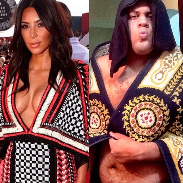 John Drops faz paródia de look Balmain usado por Kim Kardashian (Foto: reprodução/Instagram)