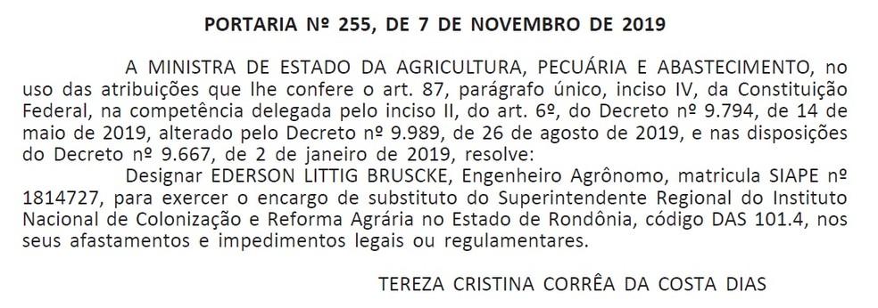 Ministra Tereza Cristina nomeou servidor público para assumir a superintendência do Incra em Rondônia.  — Foto: Diário Oficial da União/Reprodução