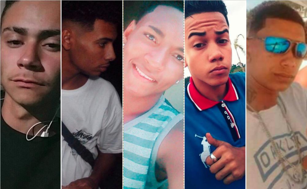 Mortos em chacina em Maricá (da esquerda para a direita): Sávio Oliveira, Mateus Bittencourt, Matheus Baraúna, Marco Jhonathan e Patrick da Silva (Foto: Facebook/Reprodução   Arquivo Pessoal)