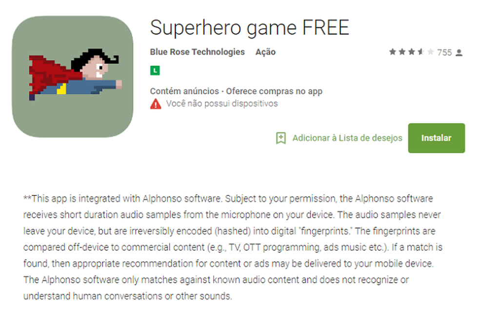 Aplicativo informa o uso do software da Alphonso na descrição, depois do 'Leia Mais' (Foto: Gabriel Ribeiro)
