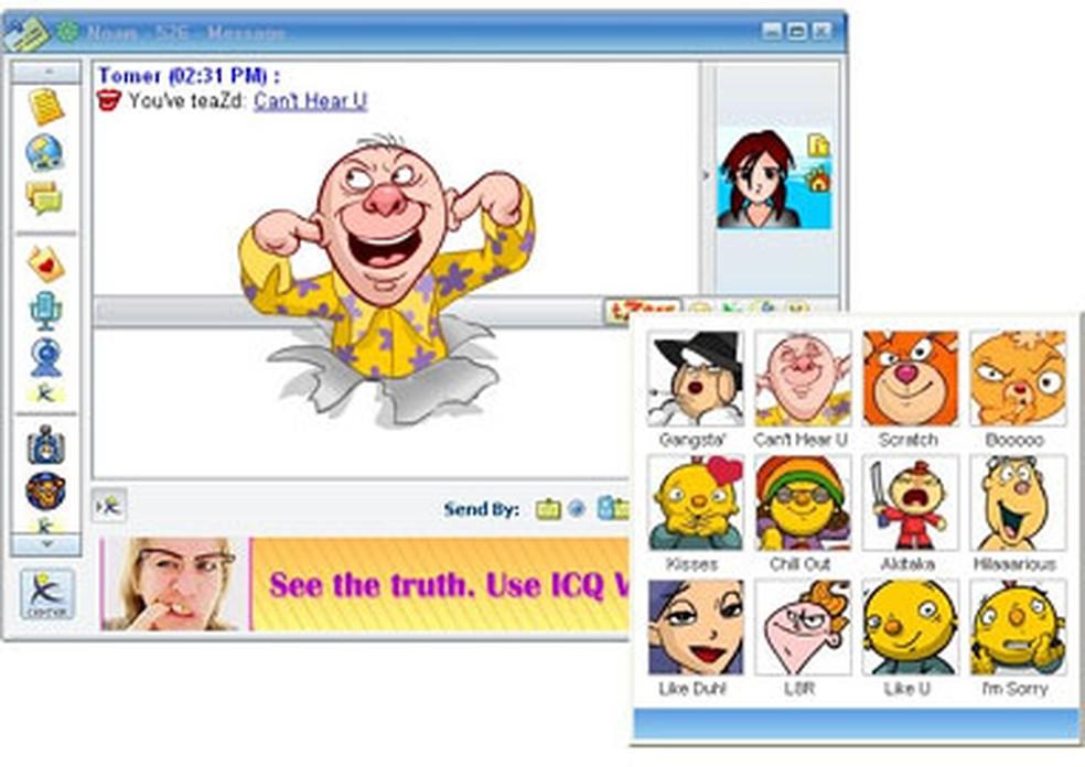 Pop up de imagens no ICQ (Foto: Reprodução/ Messenger.es)