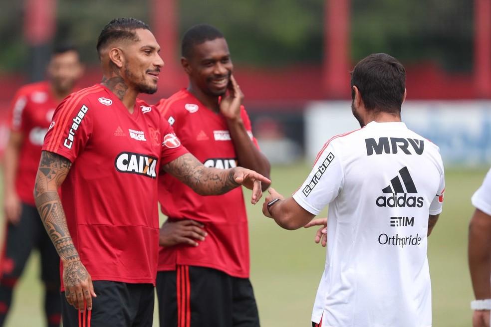 Guerrero voltou ao dia a dia do Flamengo no dia 20 de março; novo julgamento do peruano será em 3 de maio (Foto: Gilvan de Souza/Flamengo)