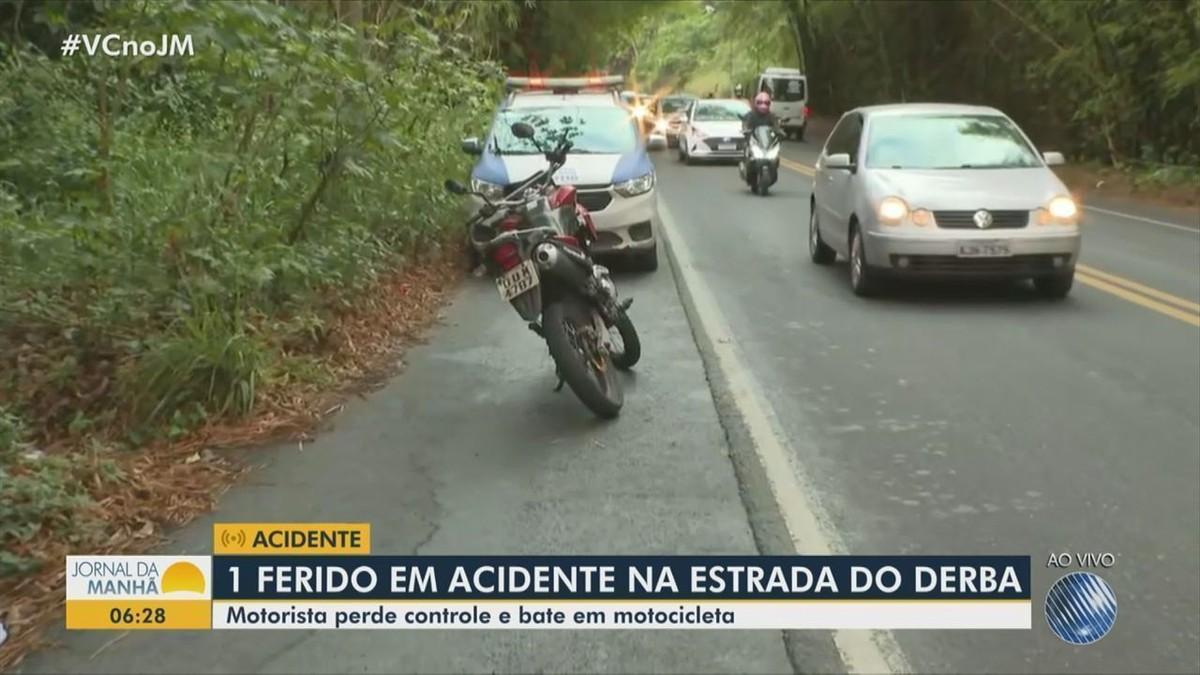Acidente entre carro e moto deixa homem ferido na BA-528, em Salvador