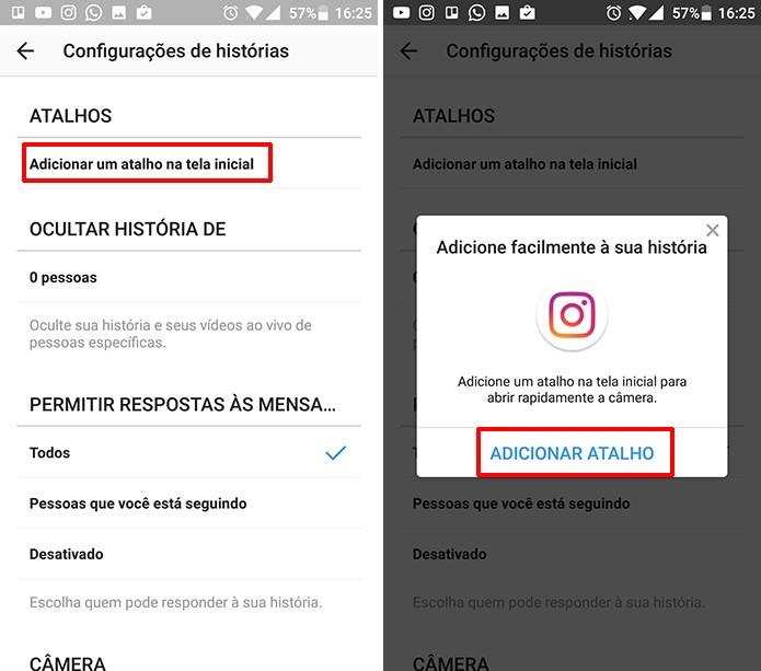 Instagram tem opção para adicionar atalho à câmera de Stories no Android (Foto: Reprodução/Elson de Souza)