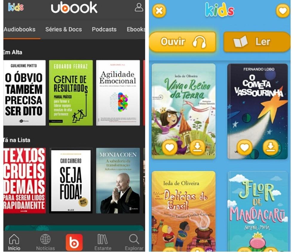 Além de disponibilizar audiobooks gratuitos, o Ubook possui uma versão personalizada de livros em áudio para crianças — Foto: Reprodução/Graziela Silva