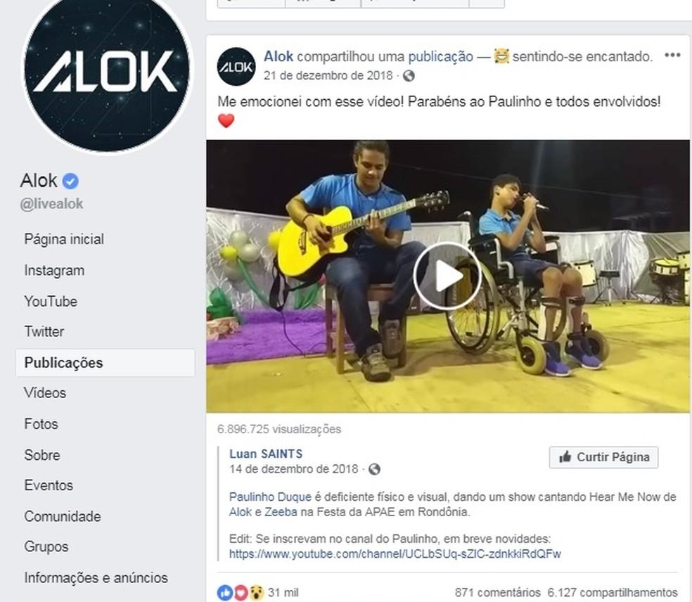 Alok elogiou música na voz de Paulo e diz que se emocionou — Foto: Facebook/Reprodução