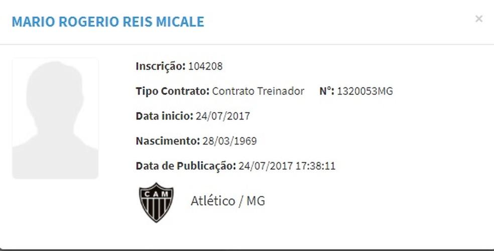 Nome de Rogério Micale já está no BID (Foto: Reprodução / CBF)
