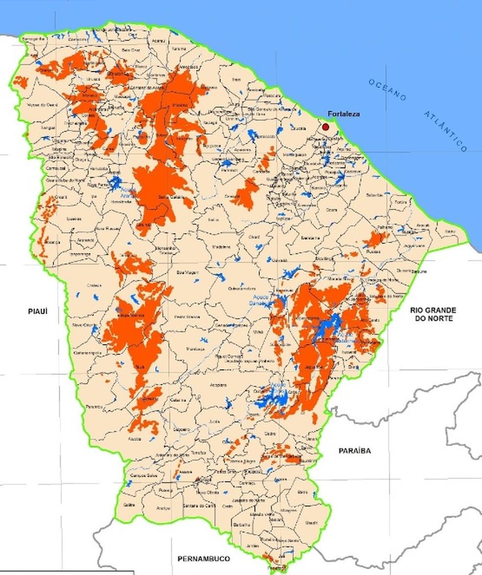 Em laranja estão as áreas fortemente degradas e em processo de desertificação. As demais áreas do estado são suscetíveis à desertificação. (Foto: Funceme/Divulgação)