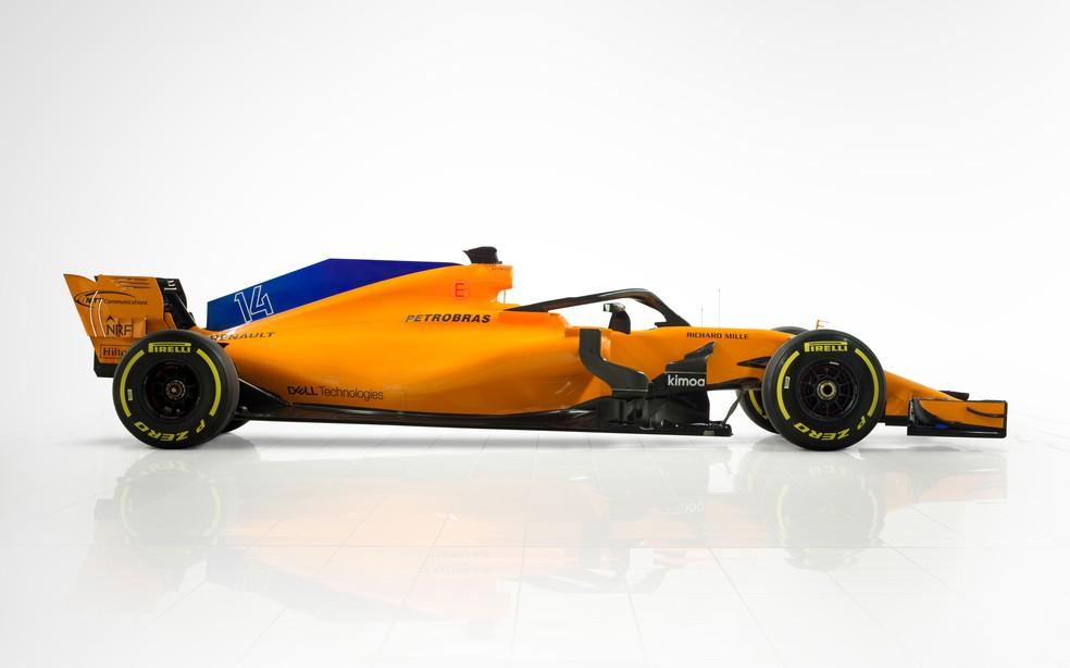 Marca da Petrobras colocada na lateral da tampa do motor do MCL33 (Foto: Divulgação/McLaren)