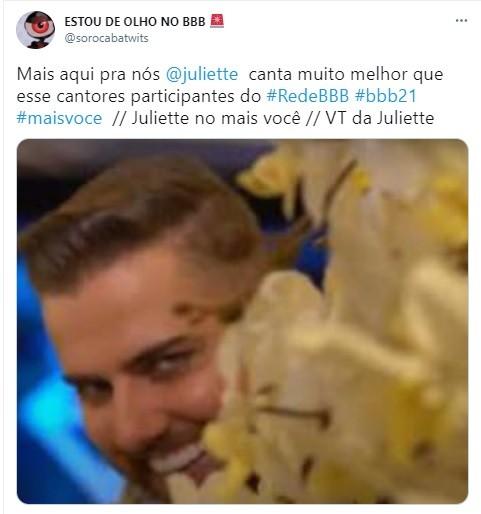Postagem sobre a entrevista de Juliette no 'Mais você' (Foto: Reprodução)