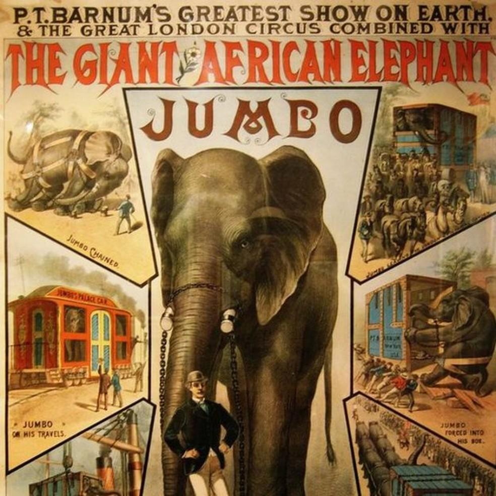 Jumbo, 'o maior elefante do mundo', foi uma grande atração nos dois lados do Atlântico (Foto: Wiki Commons)