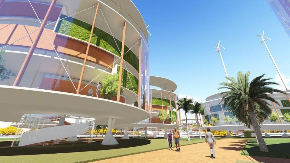 Detalhe do projeto de cidade flutuante no Pacífico