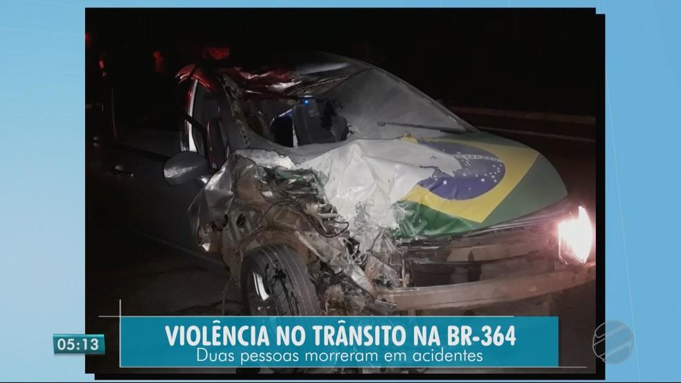 Motociclista e motorista morreram em acidentes em Rondonópolis (MT) (Foto: TV Centro América)