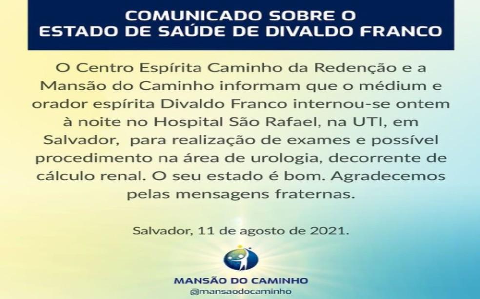 Nota do Centro Espírita Mansão do Caminho — Foto: Reprodução/Redes Sociais