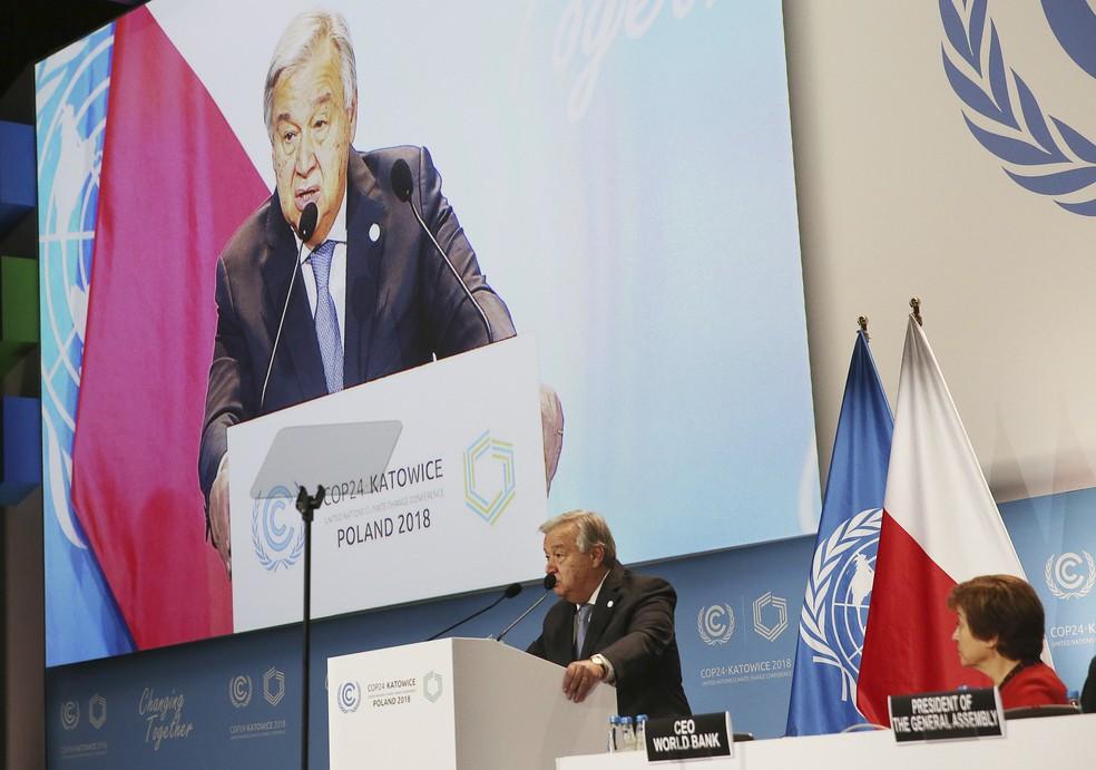 Secretário-Geral da ONU, Antonio Guterres, discursa no segundo dia da COP24, nesta segunda (3). — Foto: AP Photo/Czarek Sokolowski