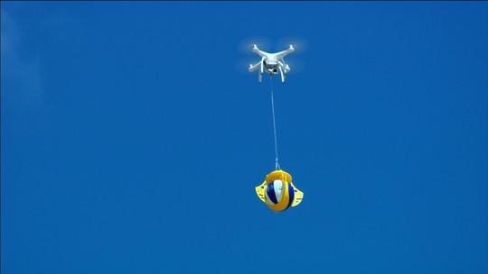 Bola da decisão do SuperPraia chega de drone