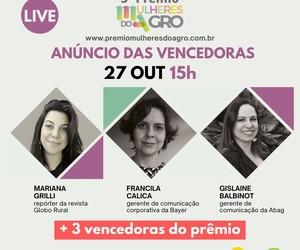 Vencedoras do 3º Prêmio Mulheres do Agro participam de live da Globo Rural
