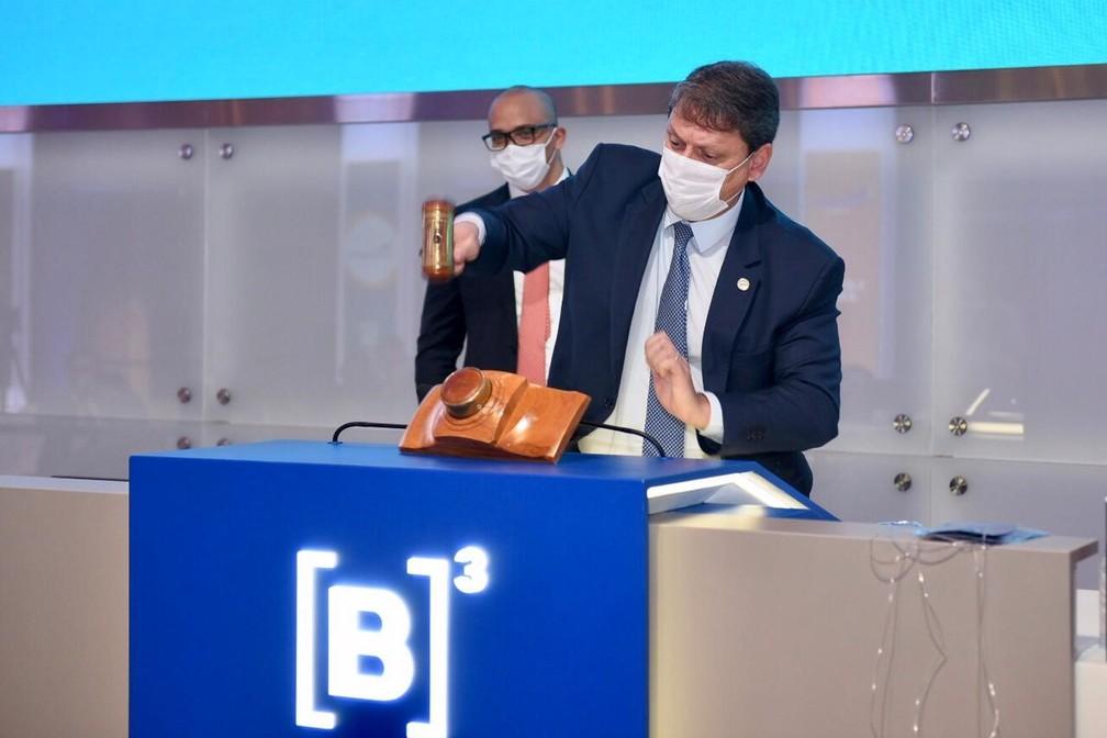 O ministro da Infraestrutura, Tarcísio Freitas, durante leilão de aeroportos realizado na quarta-feira (7) na B3. — Foto: Ricardo Botelho/Divulgação/Ministério da Infraestrutura