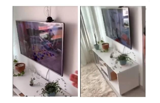 Detalhes da sala do apartamento, com cactos (símbolo das redes sociais da sister) (Foto: Reprodução/TV Globo)