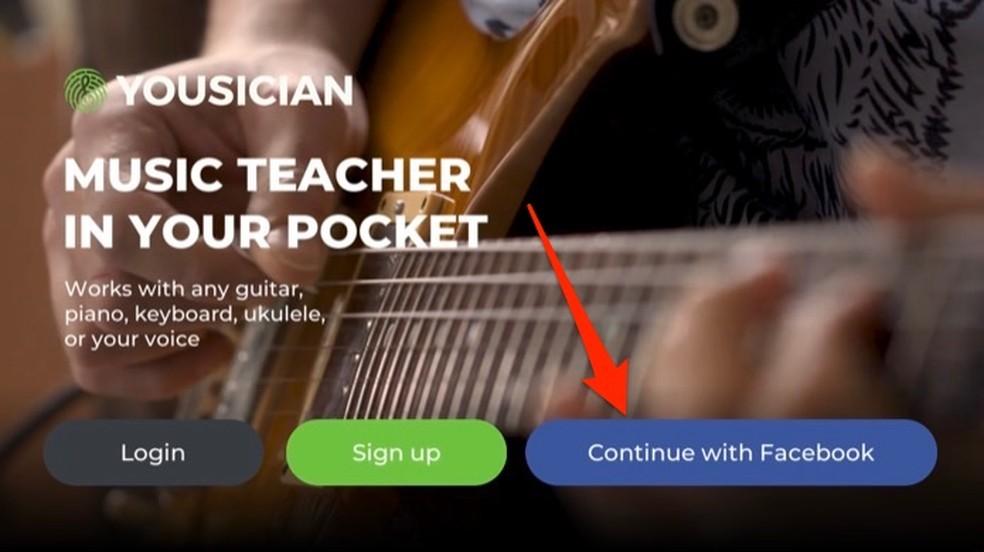 Ação para fazer login no app Yousician para aprender a tocar violão pelo celular — Foto: Reprodução/Marvin Costa