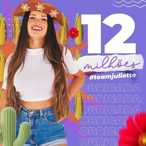 Juliette Freire atingiu a marca de 12 milhões de seguidores (Foto: Reprodução)