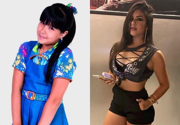 Cinthia Cruz à época de Chiquititas (2013-2015) e atualmente (Foto: Reprodução/Instagram)